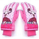 Winter Kinderhandschuhe Junge Skifahren Warme Wasserdichte Mädchen Cartoon Schüler Nette Outdoor Verdicken Handschuhe (Farbe : Pink, größe : M)