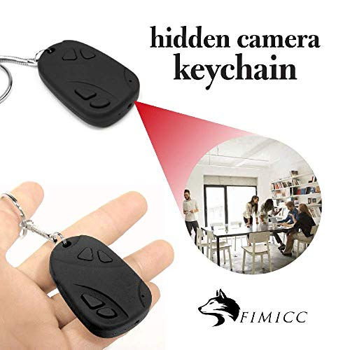 Mini Hidden Camera Key Ring by fimicc - Undetectable Small and Portable with Rechargeable Battery - HD 720P Video Recording - Mini Camera for Personal Office and Home Security