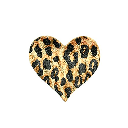 """Lot of 5 Pieces - Cheetah Leopard Print Heart Iron On Patch Applique Sewing Notions Embellishment Decoration Supplies (CF1688_5pc_2""""x1.75"""")"""