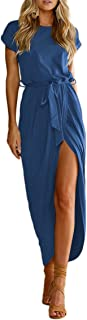 Women Summer Casual High Waist Midi Dress Solid Color Wrap Faux Dress with Belt