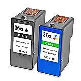 Teng 2X (1 Negro, 1 Tricolor) remanufacturado Cartucho de Tinta Lexmark 36 37 Compatible con Lexmark x3650 x 4650 x 5650 x 6650 x 6675 Z2420 Impresora