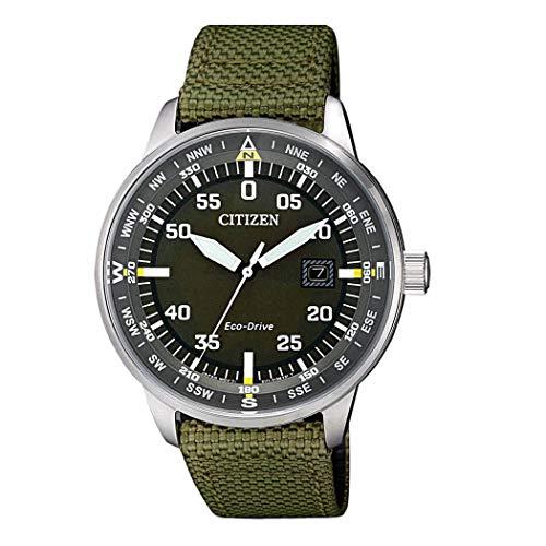 Citizen Solar Herren-Armbanduhr BM7390-22X, schwarzes Zifferblatt, grünes Nylon