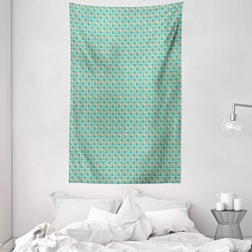 ABAKUHAUS Blaugrün & Weiß Wandteppich & Tagesdecke, Marokkanische Blumen, aus Weiches Mikrofaser Stoff Kein Verblassen Klare Farben Waschbar, 140 x 230 cm, Mehrfarbig