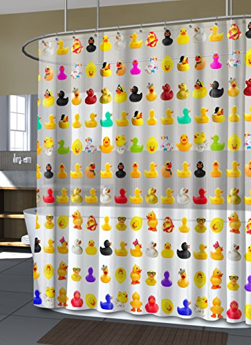 """Splash Home Peva 4G Duckies Curtain Liner Design for Bathroom Showers and Bathtubs Free of PVC Chlorine and Chemical Smell-Eco-Friendly-100% Waterproof, 70"""" x 72"""" Inches, 70"""" x 72"""" Inches, Multi"""