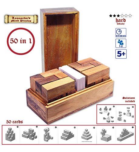 Logica Spiele Art. Doppel Tetris 3D - Denkspiel 50 In 1 - Knobelspiel - Lernspiele - Denkspiel 3D Aus Holz - Geduldspiel - Verschiedene Schwierigkeiten