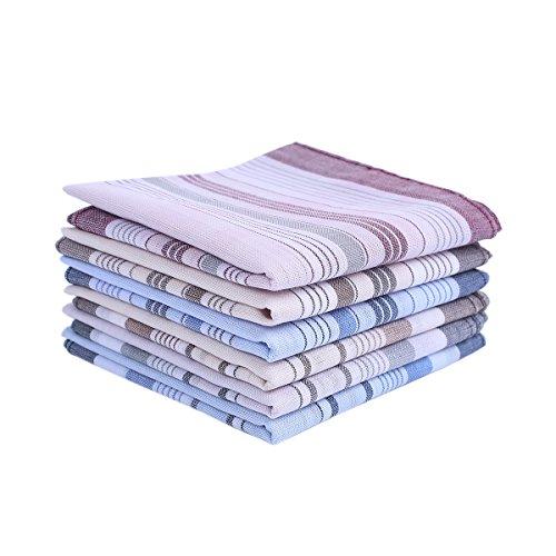 HOULIFE 6&9Stücke Herren Stoff Taschentücher 100% Baumwolle Weich Handkerchief mit Karo-Muster