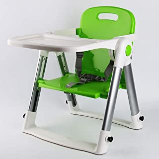 Portable Foldable Baby High ChairMultifunctional Dining Seat For Home Baby Chair Seat With Removable Tray (Color : Green)