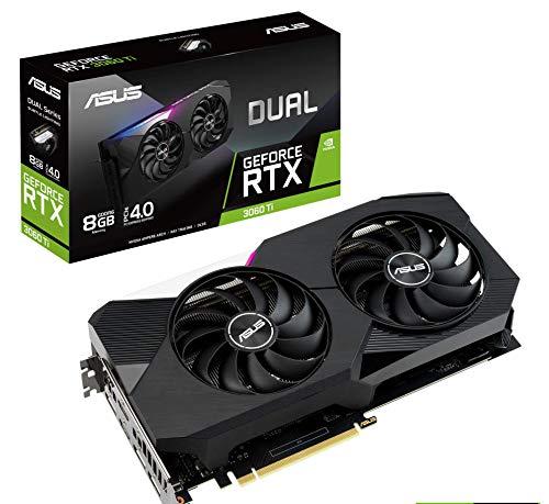 ASUS Dual NVIDIA GeForce RTX 3060 Ti Gaming Graphics Card (PCIe 4.0, 8GB GDDR6 Memory, HDMI 2.1, DisplayPort 1.4a, Axial-tech Fan Design, Dual BIOS, Protective Backplate, GPU Tweak II)