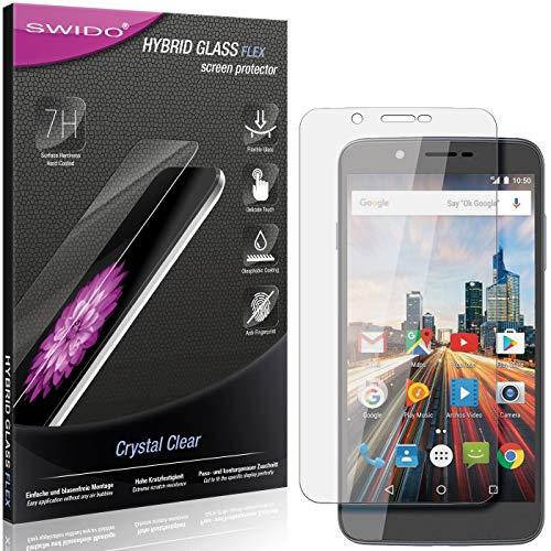 SWIDO Panzerglas Schutzfolie kompatibel mit Archos 55 Helium Ultra Bildschirmschutz-Folie & Glas = biegsames HYBRIDGLAS, splitterfrei, Anti-Fingerprint KLAR - HD-Clear