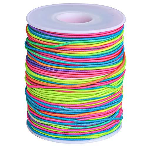 Smatime Hilo Elástico, 85 m Cordón de Color, Hilo de Color Arcoiris Cuerda de Abalorios, Cordón de Color Se Utiliza para Pulseras,Bricolaje,Collar, Manualidades e El cabello Trenzado (85 m, 1.1 mm)