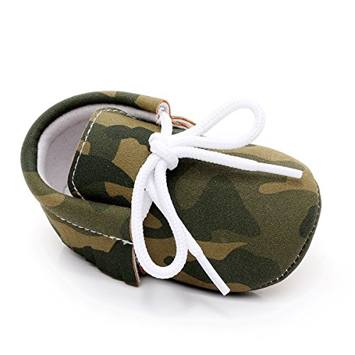 Rubber Sole Pu Leather Baby Moccasains Anti-Slip Shoes for Boys Girls Infants and Toddlers (13cm/5.12