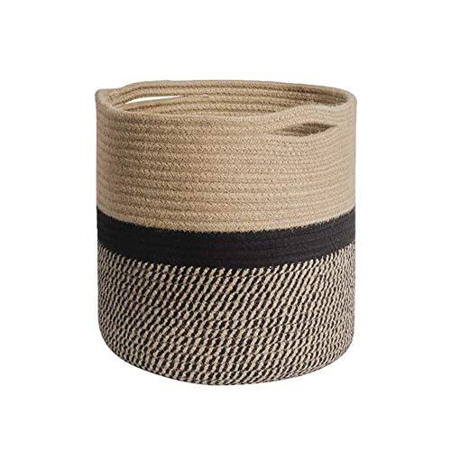 JAWSEU Cesta de almacenamiento de cuerda de algodón plegable,Cestas de lavandería Tejidas para Mantas Cesta, Cesta de almacenamiento de cuerda Organizador Decoración moderna para el hogar con