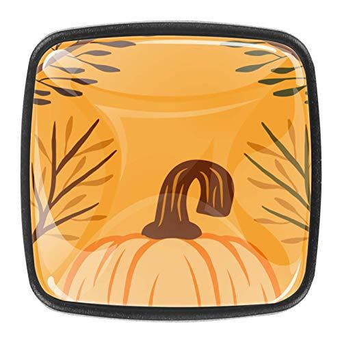4 pomos de cristal colorido para armario, armario, cajón, tirador de puerta, color naranja, otoño dibujado a mano, diseño de calabaza-01