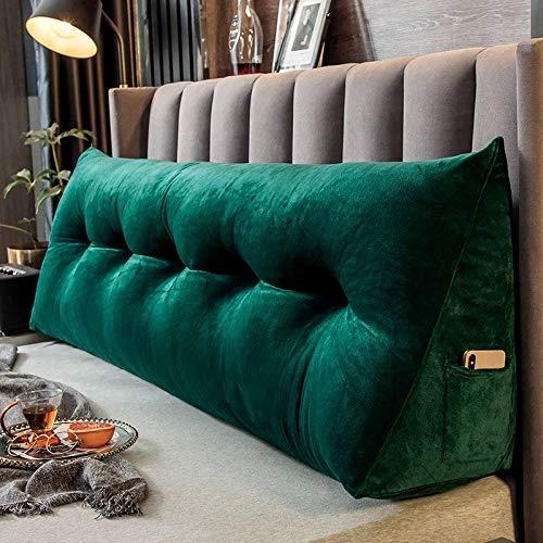 HUANXA Velvet Double Bed Triangular Reading Pillow, Soft Triangular Wedge Pillow Tatami Mat Headboard Cushion Never Collapse Removable Washing Cover Lumbar Pad Sofa Backrest-150cm/59in-Dark green