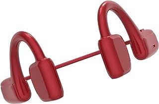 H HILABEE Benledning hörlurar Bluetooth 5.0 Open Ear trådlösa sportheadset stereo svettsäker mikrofon för löpning – röd