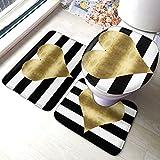 Alfombra antideslizante de baño con diseño de corazón dorado, con diseño de rayas, antideslizante, para baño y...