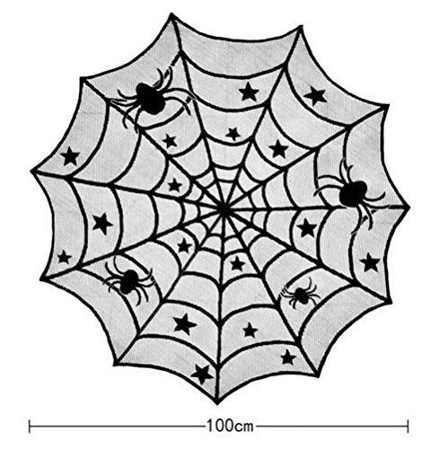 Halloween Decoratie Voor Thuis Spiderweb Tafelkleed Zwart Kant Open Haard Doek Mantel Sjaal Cover Gelukkig Halloween Feestartikelen