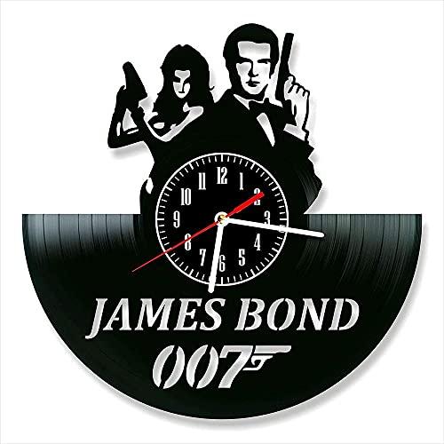 KDBWYC Reloj de Pared de Cuarzo Digital de Vinilo James Bond Hecho a Mano decoración de Pared para el hogar