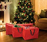 Guilty Gadgets 3 bolsas de almacenamiento de Navidad con cremallera a prueba de rasgaduras multiusos para luces de árbol con asas