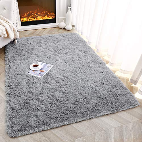 Foxmas Ultra Soft Fluffy Area Rugs for Bedroom Kids Room Plush Shaggy Nursery Rug Furry Throw Carpets for Boys Girls, College Dorm Fuzzy Rugs Living Room Home Decorate Rug, 3ft x 5ft, Grey