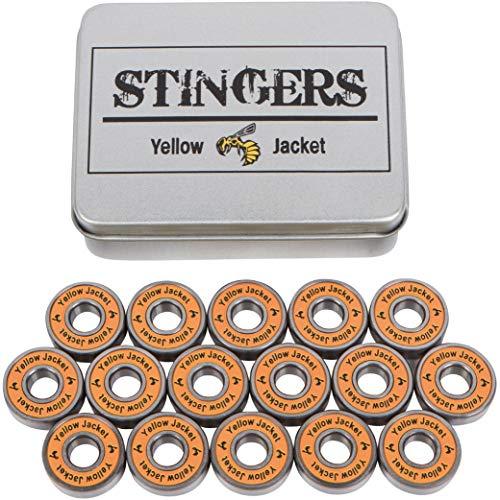 Yellow Jacket Premium Inline Skate Bearings, Roller Skate Bearings, 608, ABEC 9, Tropical Orange (Pack of 16)