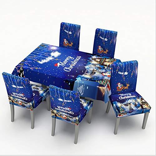 Navidad Cubierta De La Silla, Mantel Navideño Azul Decoración Navideña Fundas para Sillas, Casquillo De Santa Silla para Decoración Fiesta O Cena De Navidad,150 * 210cm