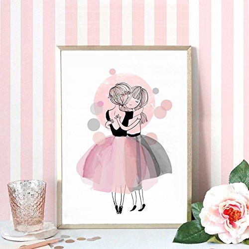 Affiches et affiches de pépinière Aquarelle Peinture sur toile Images murales pour Bébé fille Giclee Décoration murale Pas de cadre PTCG001-L
