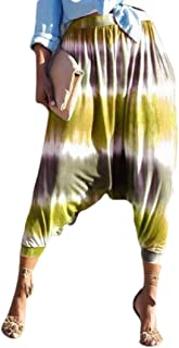 Macondoo Womens Harem Trousers Drop Crotch Club Wear Loose Tie Dye Print Pant