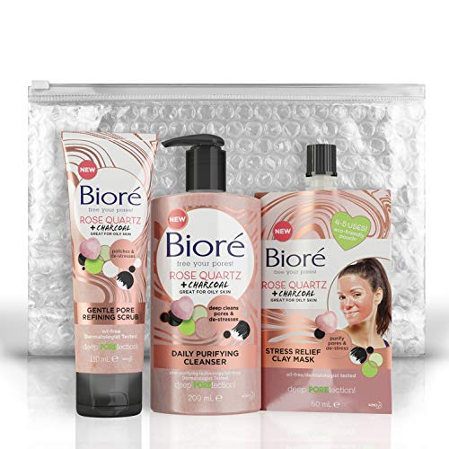 Bioré Rose Quartz + Deep Cleaning + Purifying Charcoal Face Wash Cleanser 200Ml, Face Scrub 110Ml & Clay Face Mask 50Ml Total Regime Bundle, Oil Free For Oily Skin, Dermatologically Tested