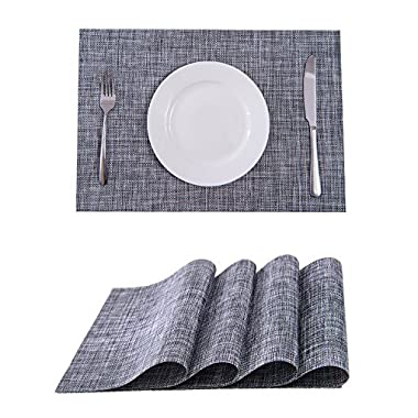 Set of 4 Placemats,Placemats for Dining Table,Heat-resistant Placemats, Stain Resistant Washable PVC Table Mats,Kitchen Table mats(Smoky Grey)