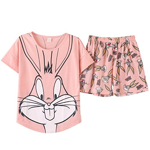 XSWY Pyjama für Damen, rosa Bugs Bunny Pyjama Set, süßes Cartoon-Design, Baumwolle, Rose, XL