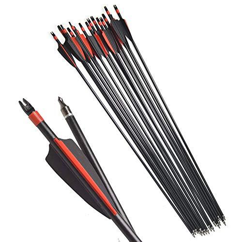 Milaem 30 Pulgadas Tiro con Arco Flechas de Fibra de Vidrio Spine 500 Flecha de Caza reemplazo Broadhead Práctica de Objetivo para Arco Recurvo Arco Compuesto