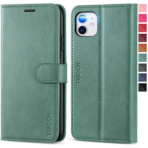 TUCCH iPhone 11 Case, iPhone 11 Wallet Case with [TPU Interior Protective Case] RFID Blocking Card Slot, Magnetic Shockproof PU Leather Stand Flip Cover Compatible with iPhone 11 6.1, Myrtle Green
