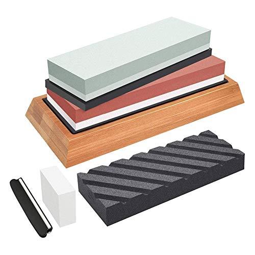 Abziehsteine Schleifstein Set 4-in-1 Wetzstein Doppelseitiger 400/1000 und 3000/8000 Grit Schleifsteine Abziehstein für Messer für Grobes Schärfen und Feinpolieren