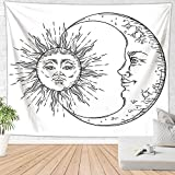 Brandless Tapiz de Sol y Luna Tapiz de Pared Retro Celestial Mystic Stars Sala de Estar Dormitorio Decoración para el hogar Tapiz para habitación (150x100cm)