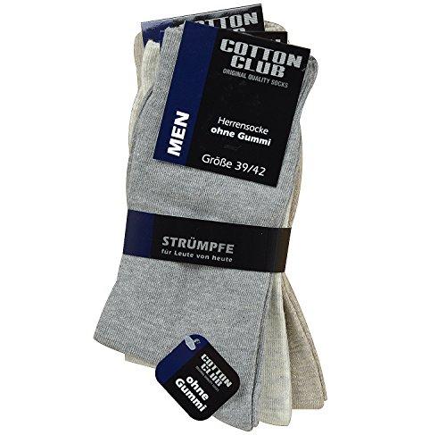 Cotton Club 4090 3er Pack Herren Socken ohne Gummi Diabetiker geeignet bis Gr. 50 Grau- Beigetöne (43-46)
