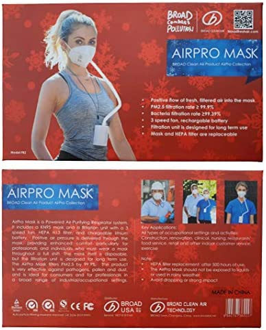 BROAD AirPro Mask Rechargeable Electrical Air Purifying Respirator Reusable Portable Air Purifier product image