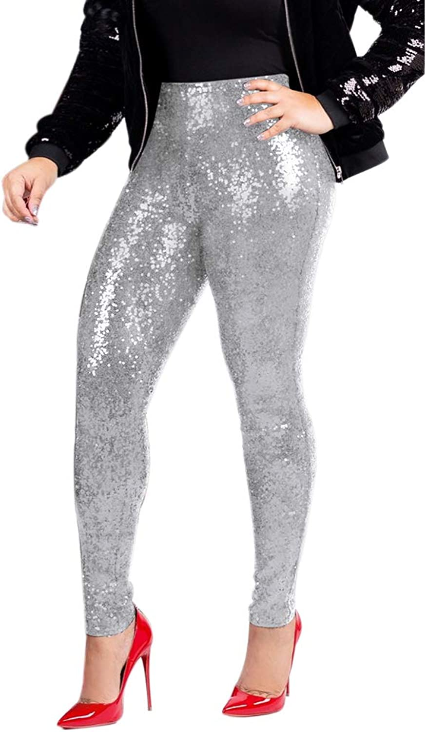 Allumk Women's Sequins Pants High Waisted Solid Shiny Leggings Skinny Long Trousers