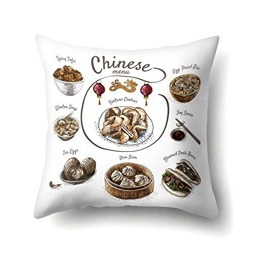 Cojines Funda de cojín de Comida Cocina Francesa Fruta Chocolate Imprimir Fundas de Almohada Decorativas 50 × 50cm con núcleo de Almohada