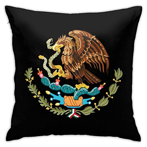 Coat of Arms of Mexico Throw Pillowcase,Pillow Cover Square Cushion Case for Sofa Couch Car Bed Home Decorative 18' x 18' Inch