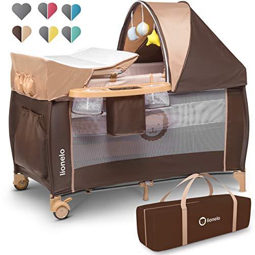 Lionelo Sven Plus 2in1 Reisebett Baby Laufstall Baby ab Geburt bis 15kg, Moskitonetz, Tragetasche, zusammenklappbar (Beige Stripes)