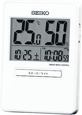 セイコークロック 置時計 トラベラ 電波 デジタル カレンダー 温度 湿度 表示 白 92×66×14mm SQ797W