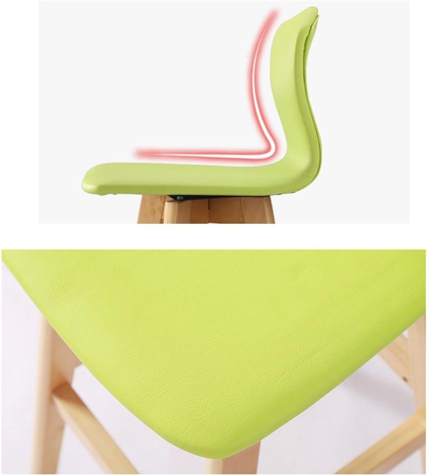 CHINA-Tabouret Tabouret haut bar cuisine petit déjeuner à manger chaise en bois massif siège dossier chaise avec dossier en cuir PU style minimaliste européen /& (Couleur : B) E