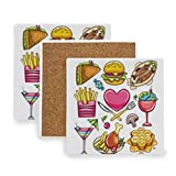 Kitchen Drink Coasters, Sandwiches Hamburgers Candy Coaster Set, Modern Ceramic Coasters for Drinks Absorbent for Wooden Table, 4-Inches for Cups & Glasses, Tabletop Protection
