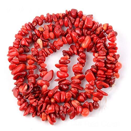 WESET Natural Mix Irregular De Forma Libre De La Viruta De Grava Beads India Agates Los Granos del Ojo del Tigre Haciendo Pulsera (Color : Red Coral, Size : 5 8mm Approx 125pcs)