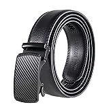 Cinturón de carraca automático para hombre de Mozeto, 35 mm de ancho, cinturón de piel para hombres #004buckle negro. Large