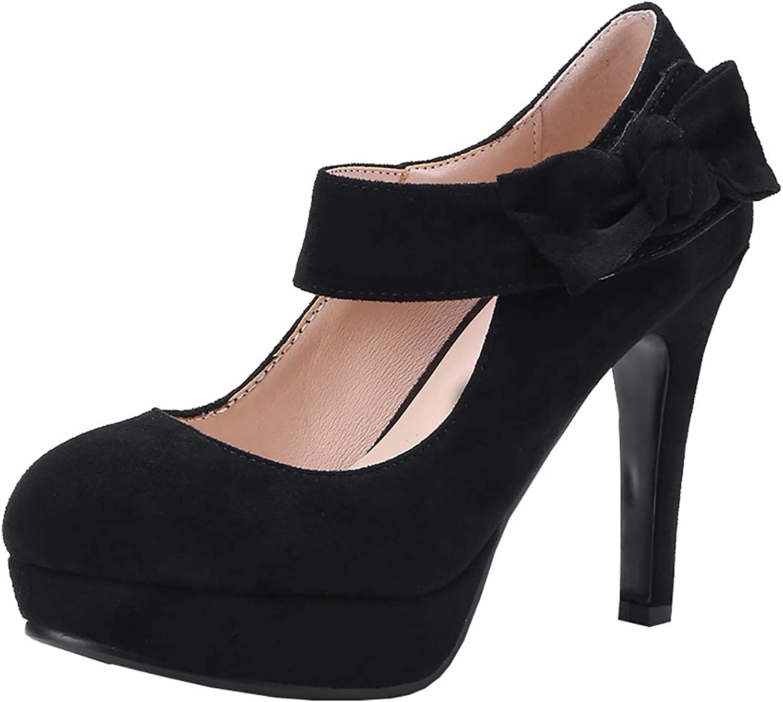 Artfaerie Womens Mary Jane Bow Pumps Ankle Strap High Heel Platform Court shoes