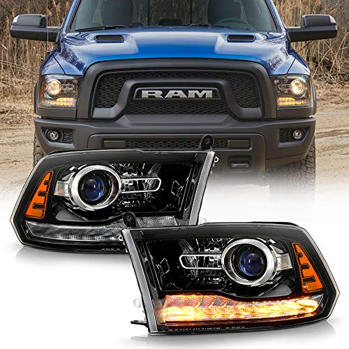 ACANII - For [Factory Projector Style] 2013-2018 Ram 1500 2500 3500 Black LED Signal Headlights Headlamps Set Left+Right