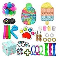 30個のフィジットのおもちゃセット、ポップバブルディンプル、大理石のメッシュポップの不安チューブフィジットパックセット (Color : 30 Pack-a)