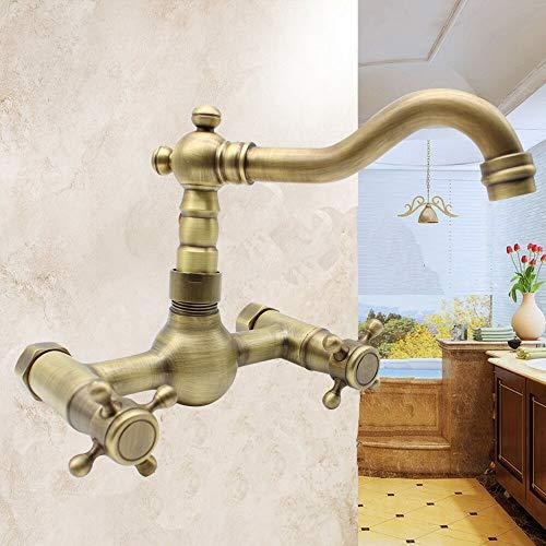 Grifo de baño retro de latón, montaje en pared, con mangueras de conexión para agua caliente y fría y asas en cruz